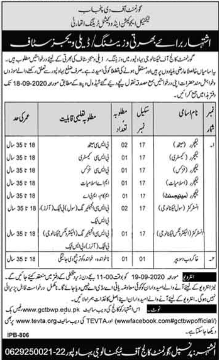 NAVTTC Jobs 2020 National Vocational & Technical Training Commission (NAVTTC) Latest Jobs 2020 in Pakistan