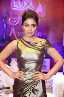 Shreya Saran in Golden Tight fit LegSplit Gown at Zee Telugu Apsara Awards 2017 05.JPG