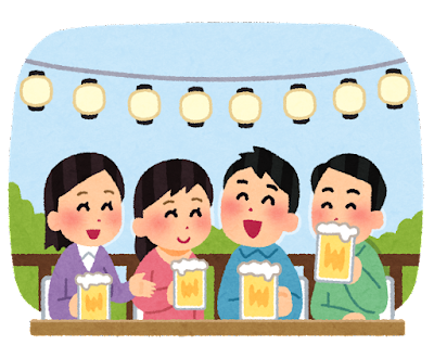 ビアガーデンのイラスト(私服・昼)