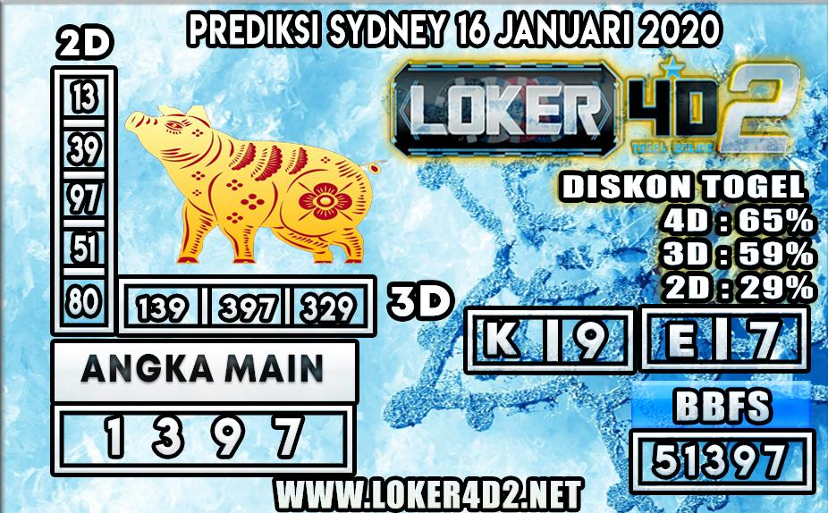 PREDIKSI TOGEL SYDNEY LOKER4D2 16 JANUARI 2020