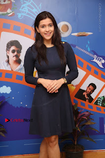 Actress Mannara Chopra Stills in Blue Short Dress at Rogue Song Launch at Radio City 91.1 FM  0034.jpg