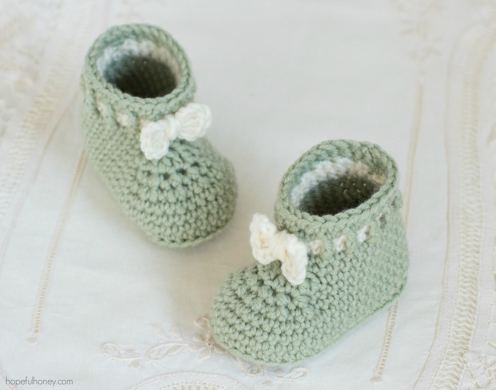 Baby Booties Crochet Pattern Dk Wool : Hopeful Honey Craft, Crochet, Create: Mint Macaroon Baby ...