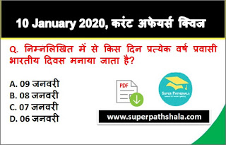 Daily Current Affairs Quiz in Hindi 10 January 2020