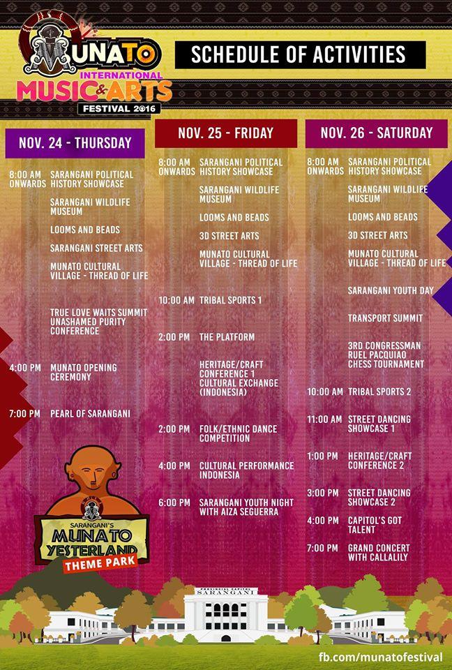 Munato Festival 2016 Schedule of Activities