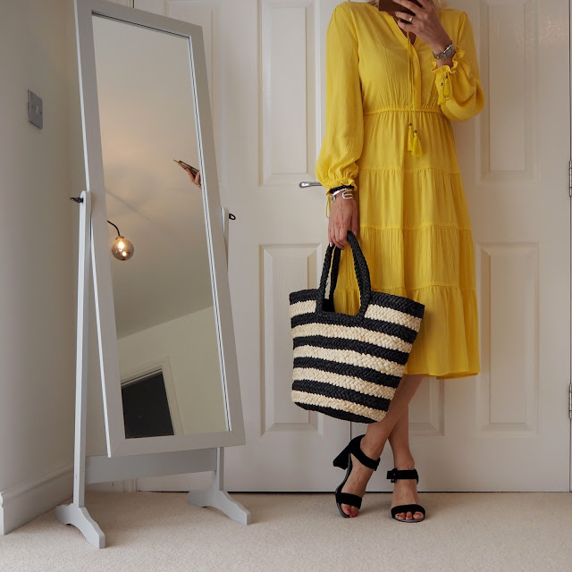 yellow dress and basket bag