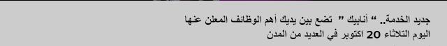 """جديد الخدمة.. """" أنابيك """"  تضع بين يديك أهم الوظائف المعلن عنها  من اليوم التلاثاء 20 اكتوبر في العديد من المدن المغربية"""