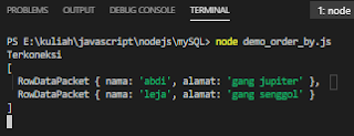 menampilkan database mysql ascending