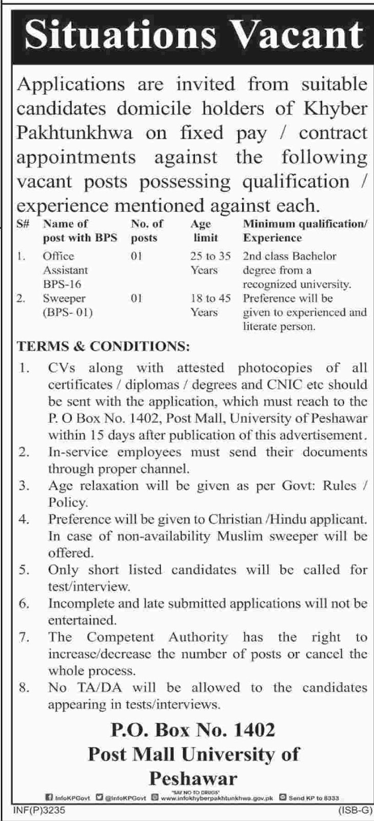 Govt Jobs for KPK Domicile for Office Assistant and Sweepers August 2018