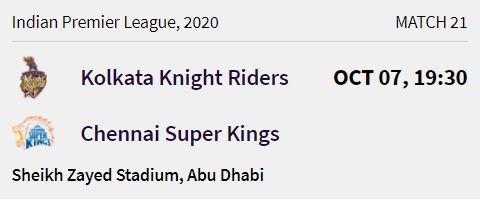 Kolkata Knight Riders match 5 ipl 2020