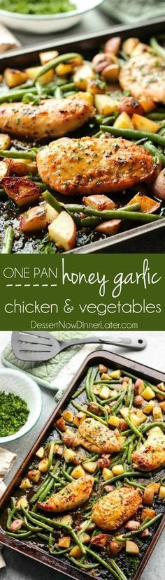 This one pan chicken dinner has the most delicious honey garlic glazed chicken alongside tenderly roasted potatoes and green beans. Plus, it's so easy and flavorful, you'll make again and again!