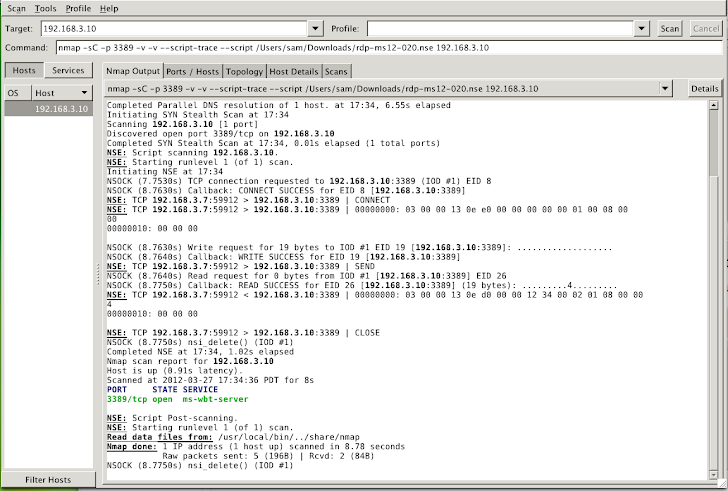 NMAP Script to Check Presence of ms12-020 RDP vulnerability