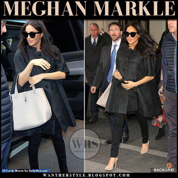 Meghan Markle wore black cocoon style William Vintage coat and large black Le Specs sunglasses. Casual royal family duchess of sussex outfit february 2019