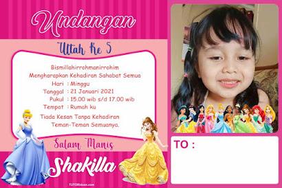 Desain Undangan Ultah Kartun Princess CDR