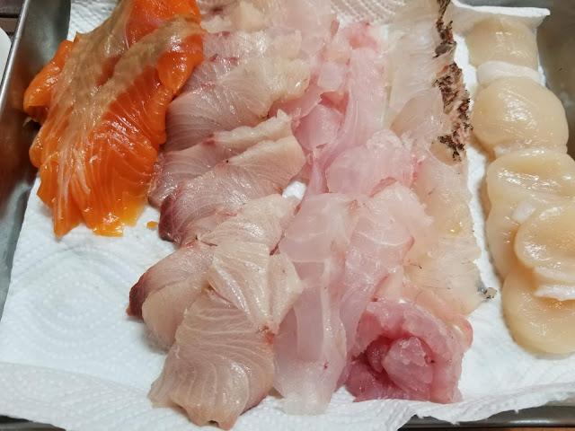 寿司を握るために作ったネタの画像