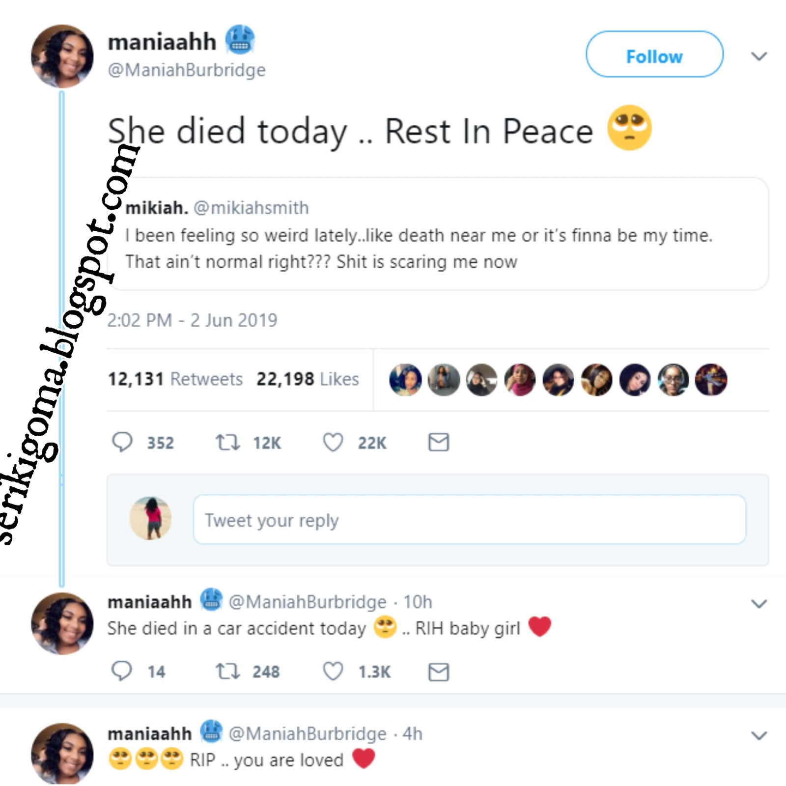 YOUNG LADY DIES 10 DAYS AFTER TWEETING THAT SHE FEELS LIKE IT'S HER