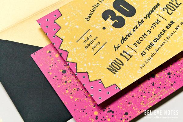 Believe Notes: Custom Recap - 80's Themed 30th Birthday Invitations