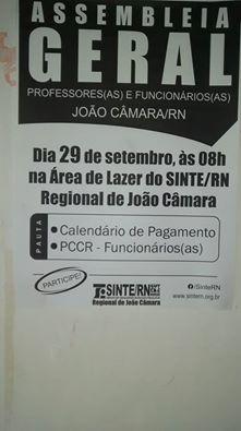Quinta feira( 29), O Sinte RN:convoca todos os servidores da educação do município de João Câmara/RN,para Assembleia as 8hrs na área de lazer do sindicato.