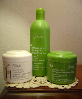 Ziaja Cosmetics Natural Olive Regenerating Shampoo, Mask, and Goat's Milk Body Butter.jpeg