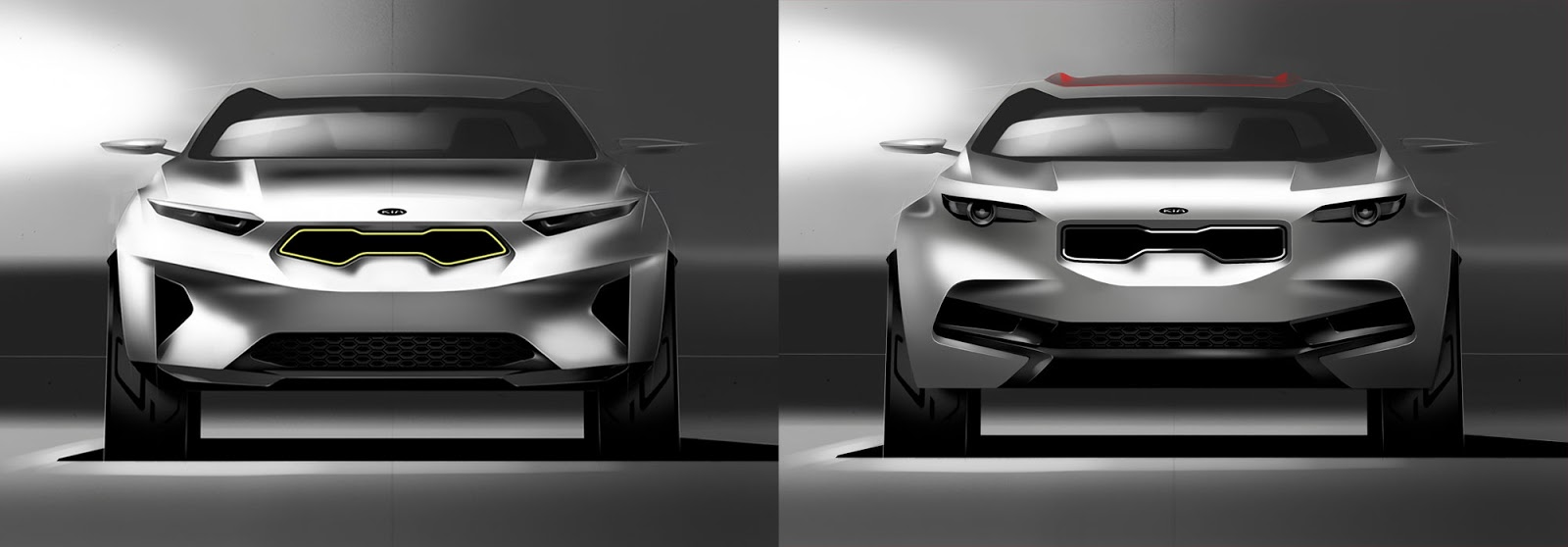 Kia Stonic sketch - two styling options for the nose