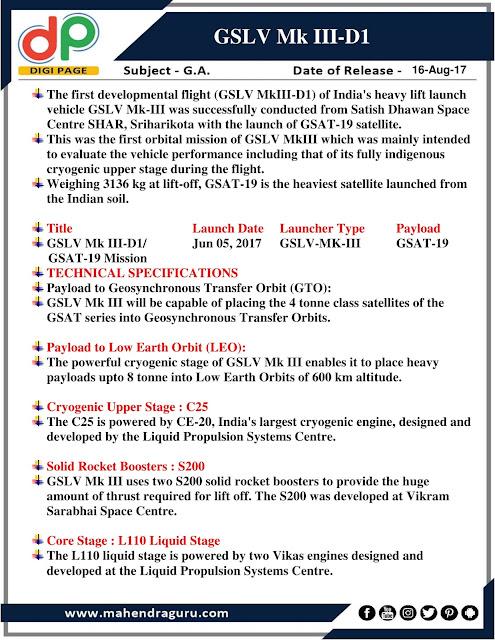 DP   GSLV Mk III- D1   16 - August - 17