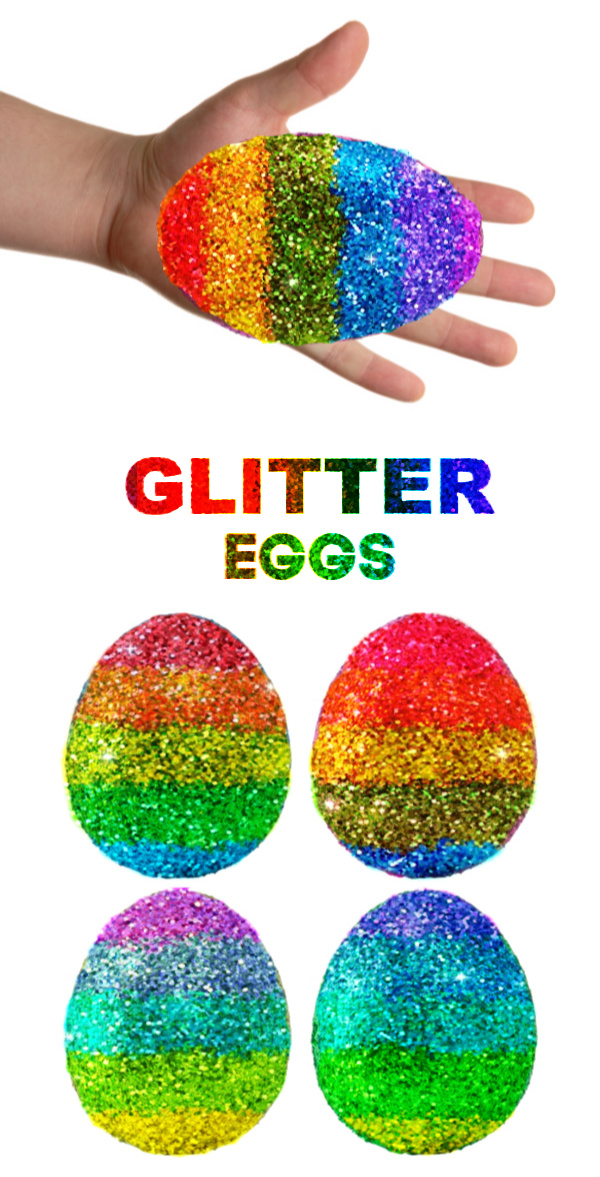 Decorate the most sparkly rainbow Easter eggs using glitter!  This decorating idea is really easy, making it great for kids of all ages! #glittereastereggs #glittereastereggsdiy #glittereggs #glittereggseaster #rainboweastereggs #rainboweggs #rainbowglitter #eggdecorating #eggdecoratingforkids #growingajeweledrose