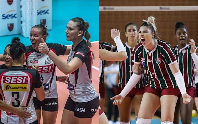 Sesi Bauru e Fluminense vencem partidas de cinco sets pela Superliga feminina