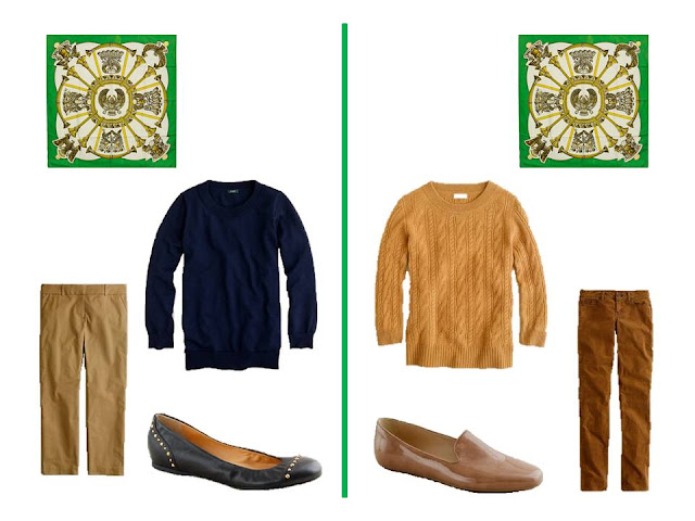 two outfits - sweaters and pants - to wear with Hermes silk scarf Egypte in bright green