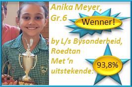 Baie geluk aan Anika Meyer, Gr.6 redenaars-WENNER by L/s Bysonderheid, Roedtan met 'n uitmuntende 93,8%