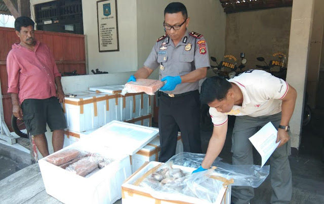 Polri Gagalkan Ratusan Kilogram Daging Beku di Bali