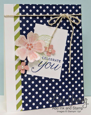 Stampin' Up! Birthday Blossoms stamp set. Clean and simple birthday card or celebration card. Handmade by Lisa Young, Add Ink and Stamp