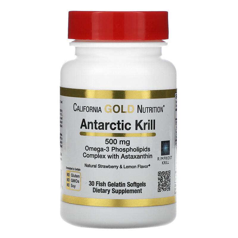 California Gold Nutrition, RIMFROST, масло антарктического криля, с астаксантином, натуральный клубнично-лимонный вкус, 500 мг, 30 рыбно-желатиновых мягких таблеток