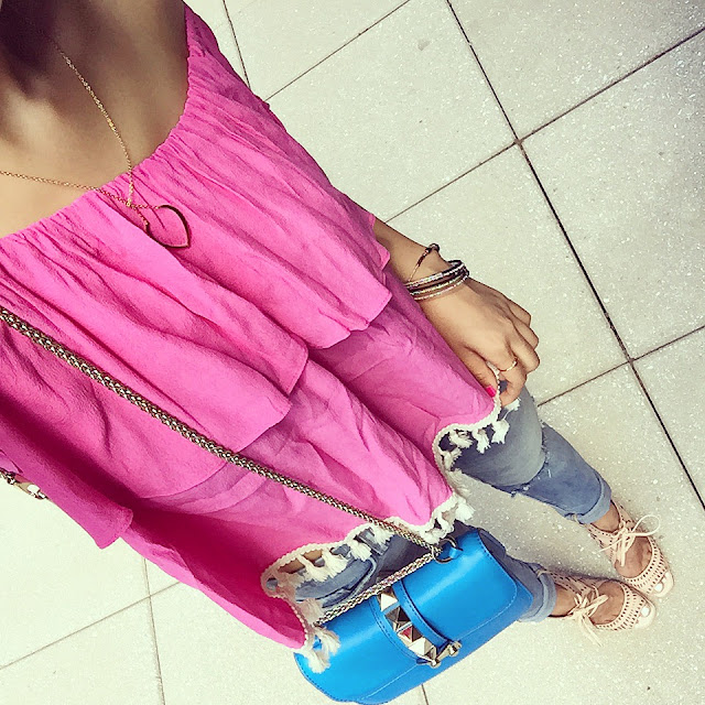 hot pink off shoulder top, tbags los angeles off shoulder top, valentino lock bag, blank denim distressed jeans, jeffrey campbell wedges,fashion blog