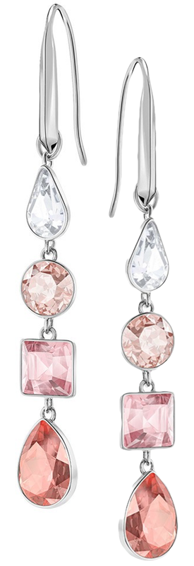 SWAROVSKI LISANNE PIERCED EARRINGS, PINK, RHODIUM PLATING