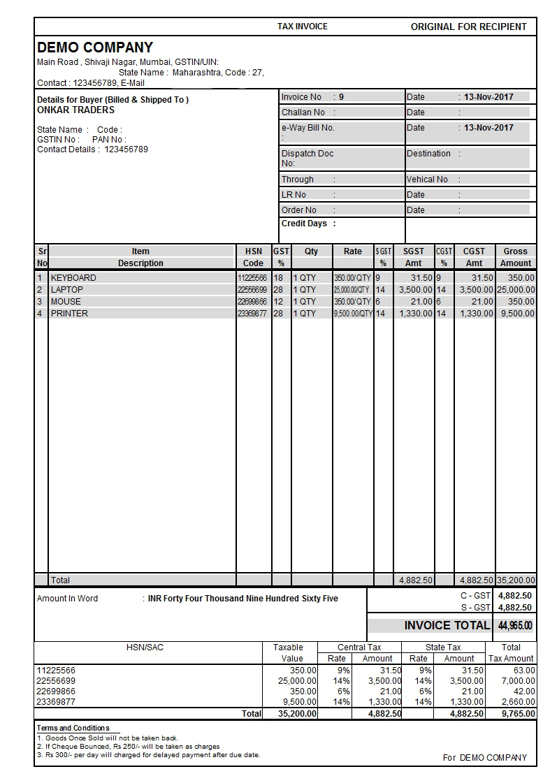 Unique Color GST Sales Invoice tdl for Tally - Tally Tdl Expert