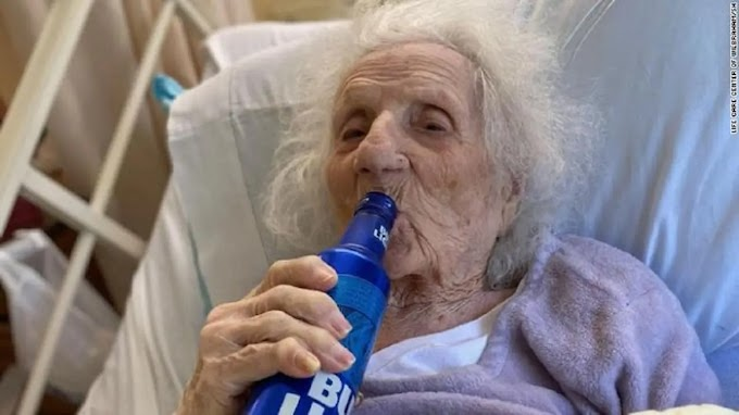 103-year-old woman beat Covid-19, celebrates with a cold beer