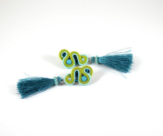 tassels soutache earrings, Lime, turquise,