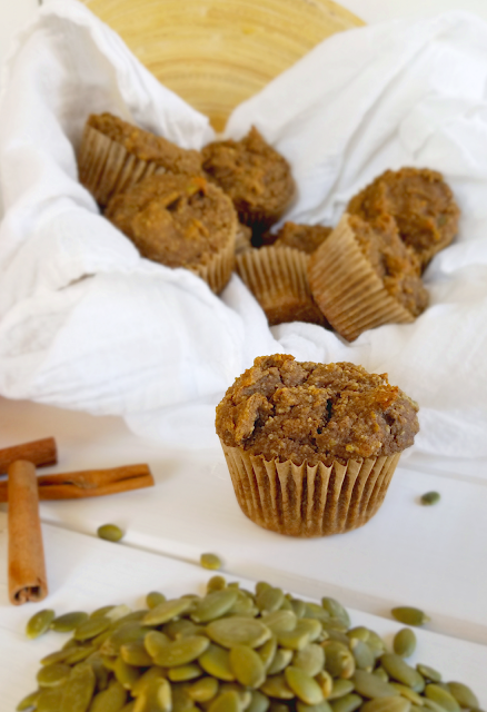 These delicious pumpkin muffins are perfect for Fall and friendly to food allergies! They are gluten-free, nut-free, vegan (dairy-free and egg-free), rice-free and free of xanthan or guar gum (gum-free). Since most of the flour in this recipe has been replaced with ground pumpkin seeds, these muffins are also low-glycemic and extra nutritious!