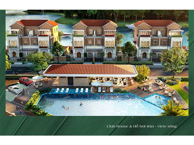 club house và hồ bơi tràn view sông
