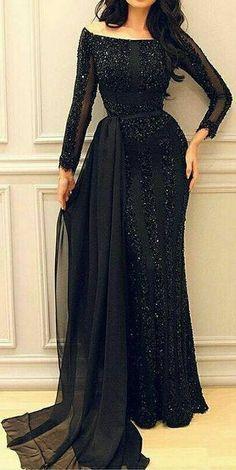 فستان سهرة غير محجبات اسود
