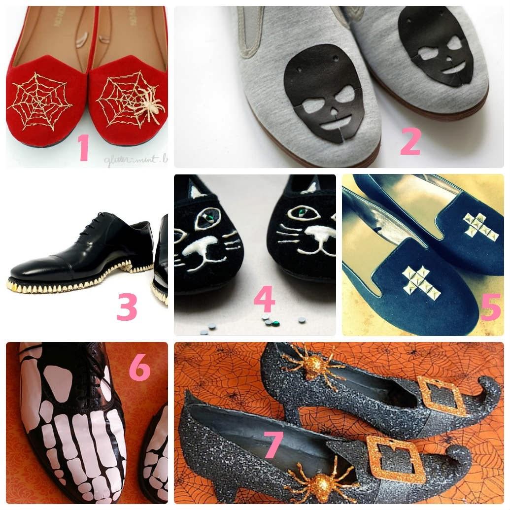zapatos terroríficos, zapatos para Halloween, manualidades
