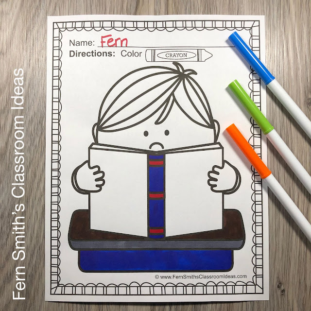 You will LOVE the 68 Back to School Coloring Pages that come in this Back to School coloring pages resource! Terrific for a First Day Activity on The Students' Desk When They Arrive In Your Classroom!  #FernSmithsClassroomIdeas