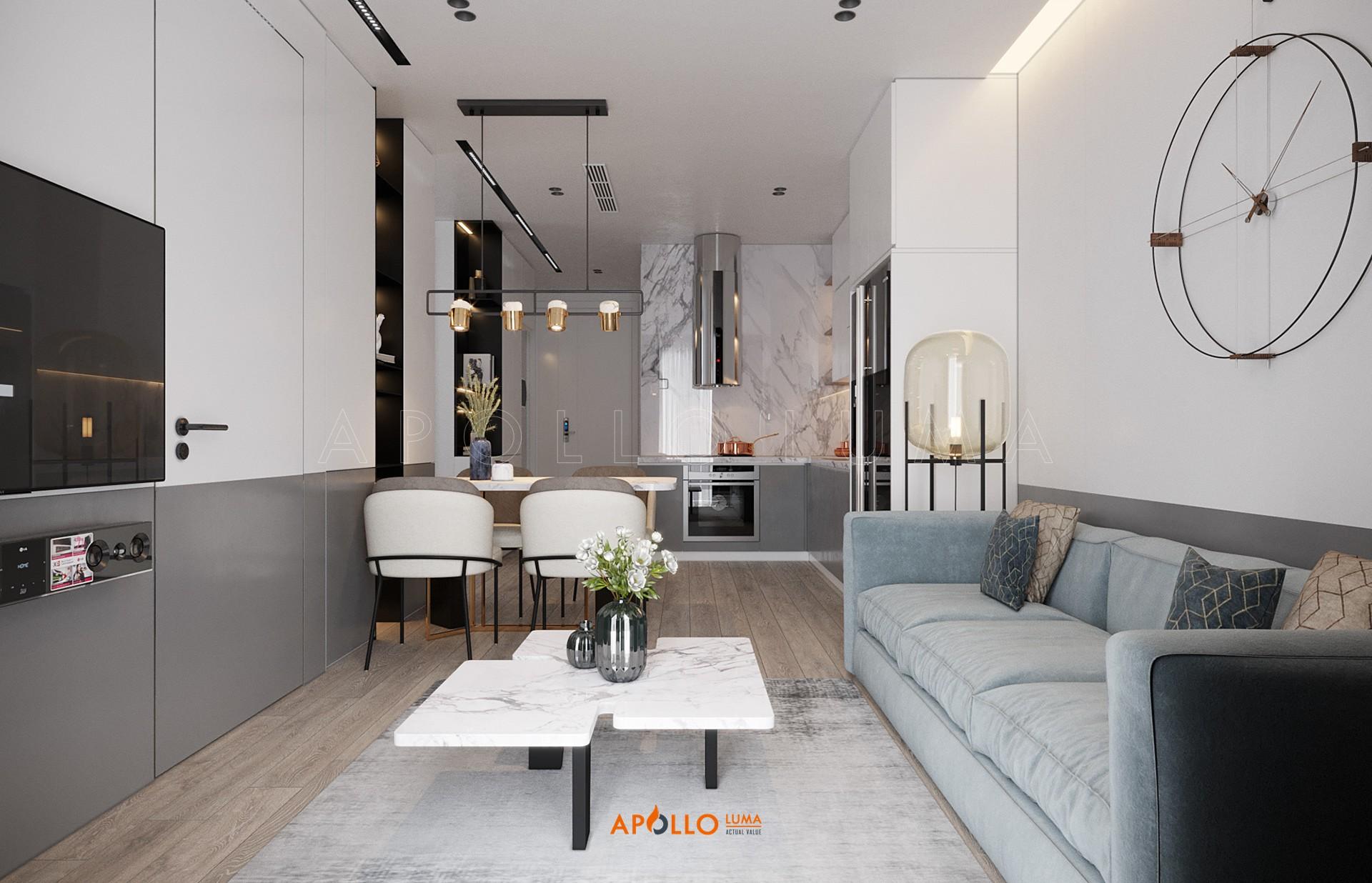 Thiết kế nội thất căn hộ 2PN+2WC (căn giữa) S4.02-09 Vinhomes Smart City Tây Mỗ