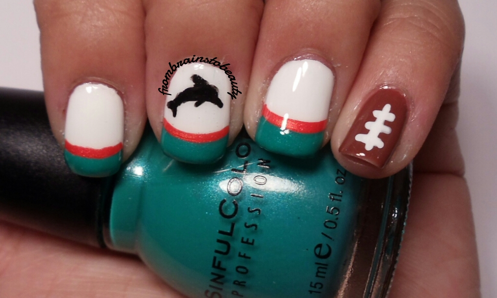 From Brains To Beauty Nail Tutorial Miami Dolphins Vs Tampa Bay Buccaneers Nail Tutorial