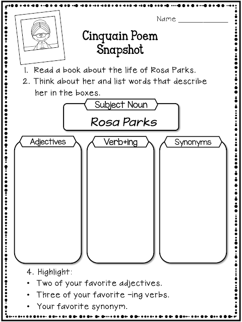 Are you looking for a writing resource for Black History Month? Take a look at how to use this cinquain poem to help your students take a deeper look at the life of Rosa Parks.