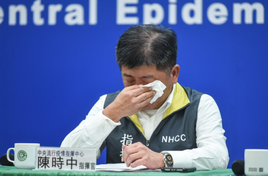 Taiwan health minister unable to control emotions after announcing ...