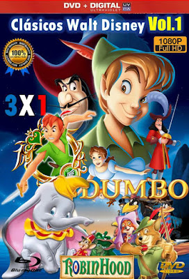 Clásicos Walt Disney Vol.1 3X1 COMBO DVD HD LATINO