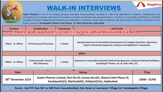 Walk-in interview for FR&D / AR&D / Microbiology on 8th November, 2019 @ Aspiro Pharma