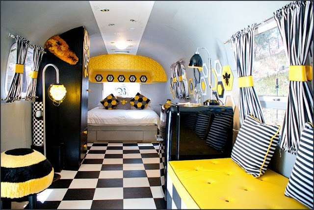 Give Bees A Chance air stream  decorating  bumble bee bedrooms - Bumble bee decor - Honey bee decor - decorating bumble bee home decor - Bumble Bee themed nursery - bee wallpaper mural decals - Honeycomb Stencil - hexagonal stencils - bees in springtime garden bedroom -  bee themed nursery - black yellow bedroom ideas