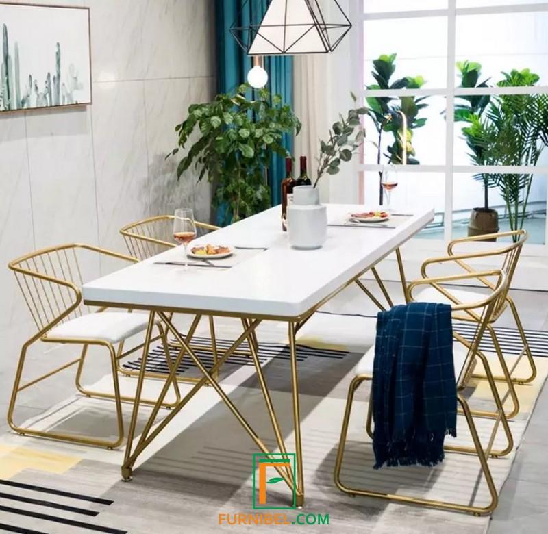 Set Meja Kantor 4 Kursi Stainless Gold Mirror Minimalis