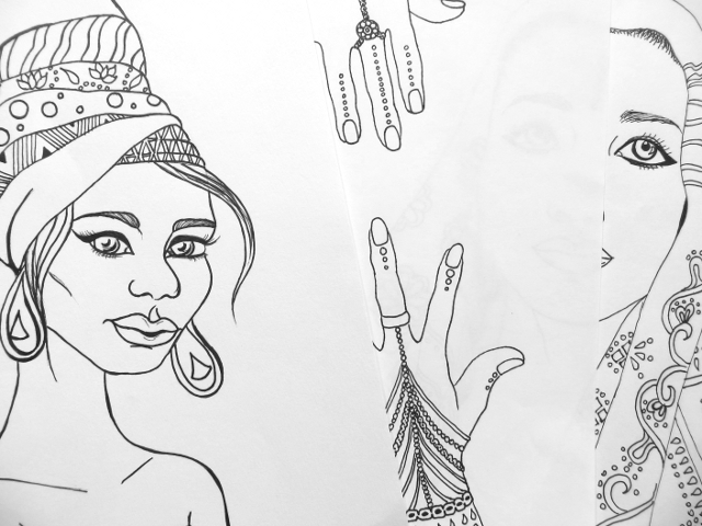 india africa portrait line art drawings for coloring book